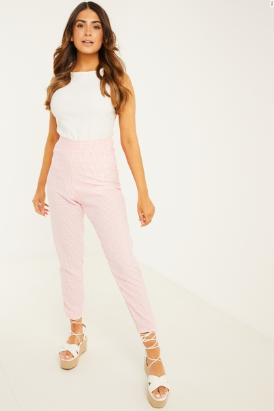 Petite Pink Gingham Trousers